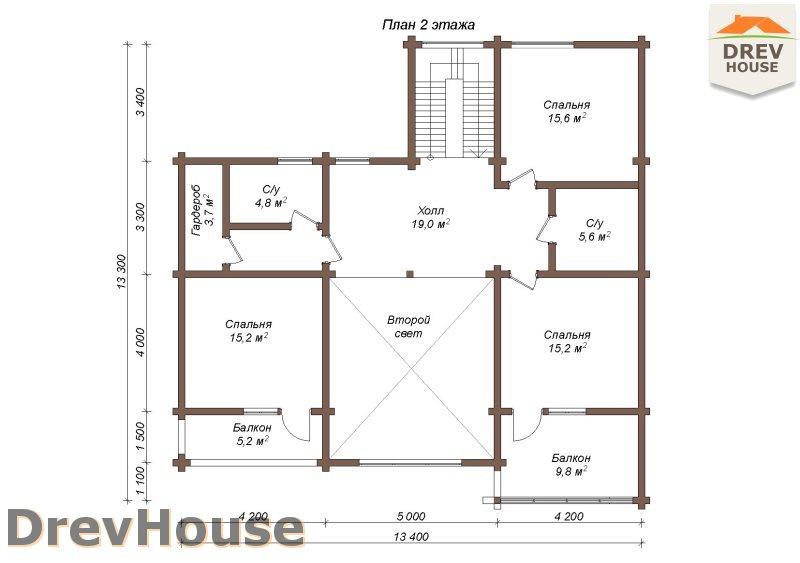 План 2 этажа полутораэтажного коттеджа из бруса Коломбо