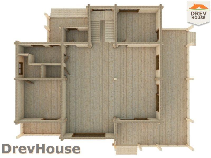 Вид изнутри 1 этажа проекта полутораэтажного коттеджа из бруса Коломбо