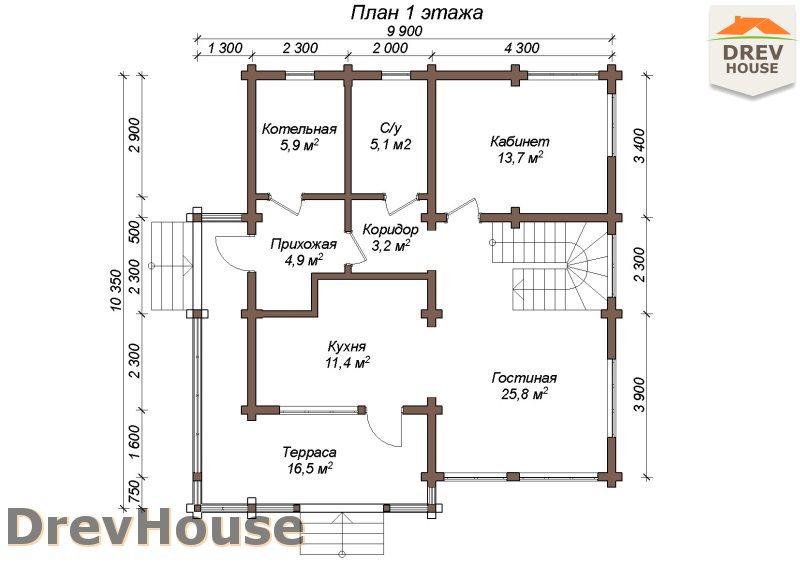 План 1 этажа полутораэтажного коттеджа из бруса Моне