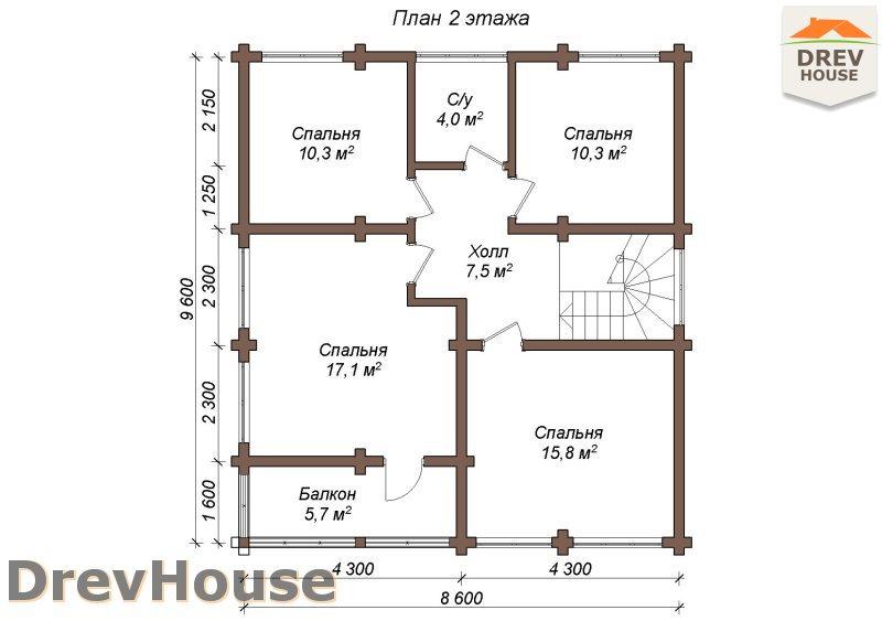 План 2 этажа полутораэтажного коттеджа из бруса Моне