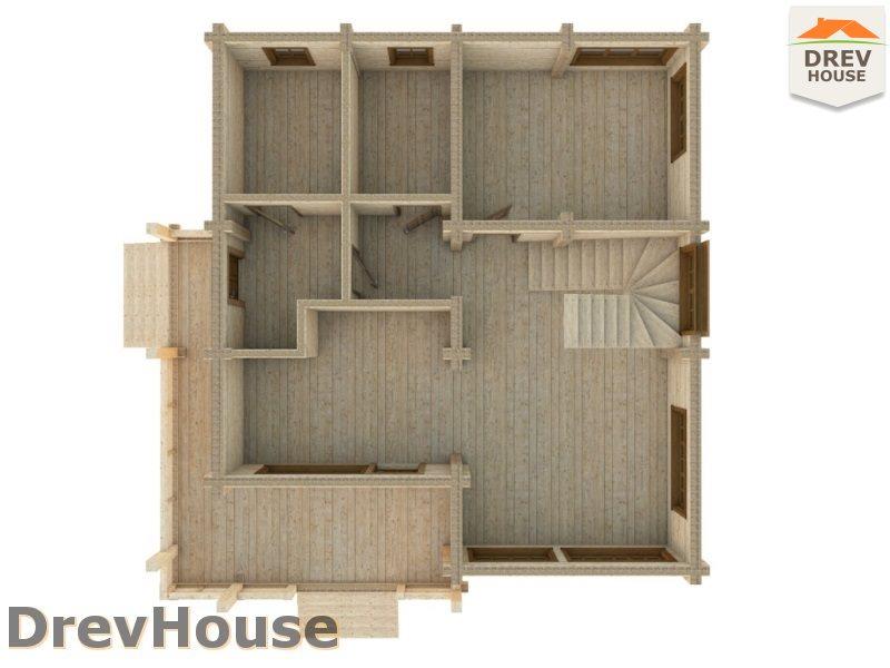Вид изнутри 1 этажа проекта полутораэтажного коттеджа из бруса Моне