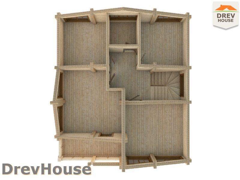 Вид изнутри 2 этажа проекта полутораэтажного коттеджа из бруса Моне