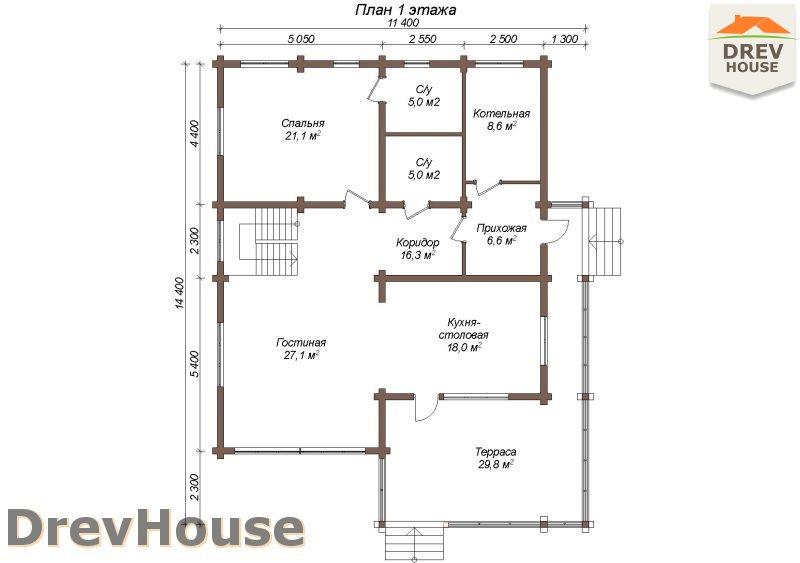 План 1 этажа полутораэтажного коттеджа из бруса Валенсия