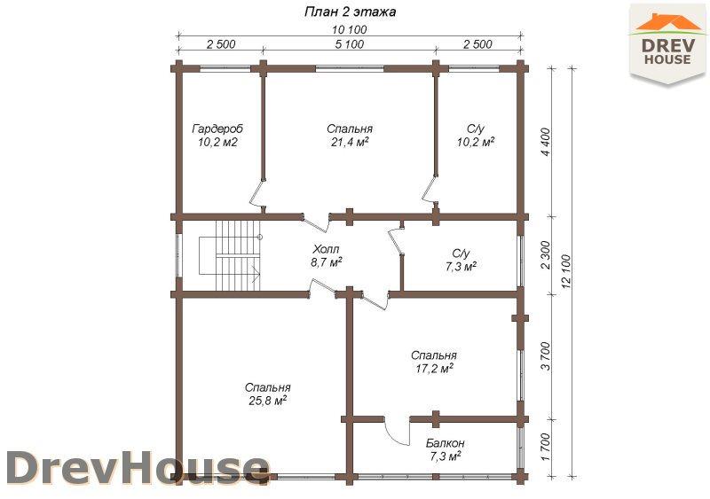 План 2 этажа полутораэтажного коттеджа из бруса Валенсия