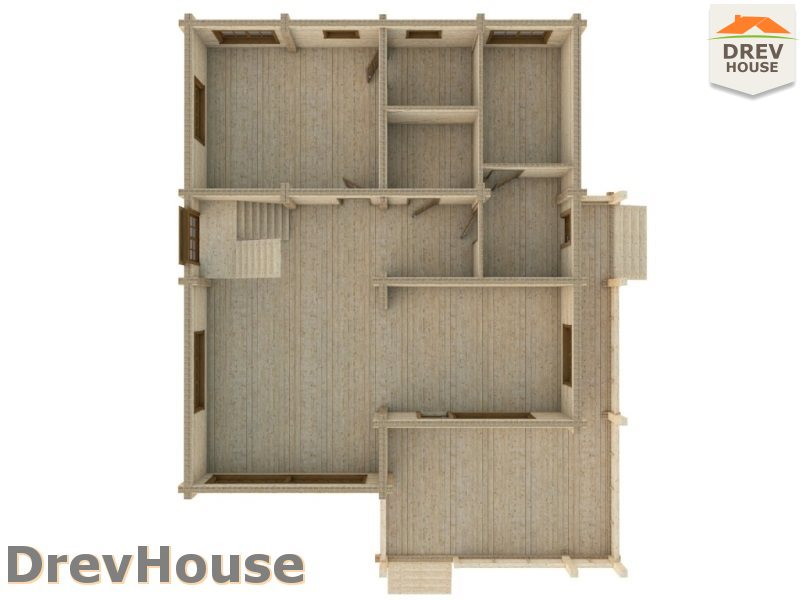 Вид изнутри 1 этажа проекта полутораэтажного коттеджа из бруса Валенсия