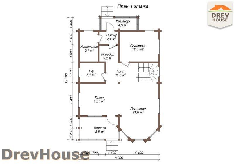 План 1 этажа полутораэтажного коттеджа из бруса Версаль