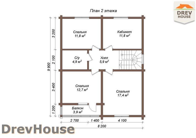 План 2 этажа полутораэтажного коттеджа из бруса Версаль