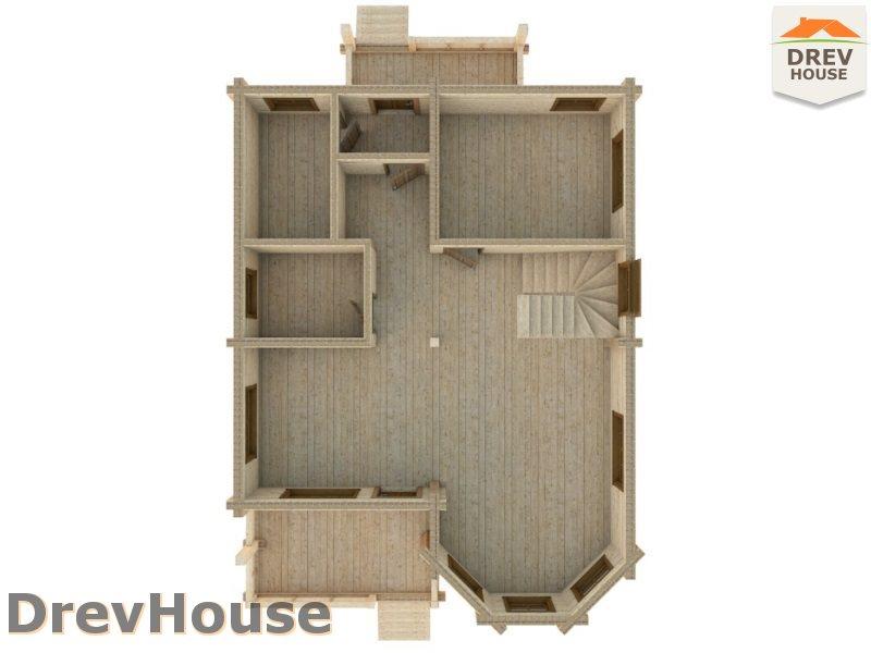 Вид изнутри 1 этажа проекта полутораэтажного коттеджа из бруса Версаль