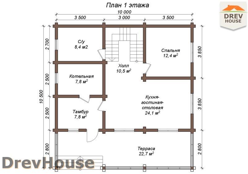 План 1 этажа полутораэтажного коттеджа из бруса Арко