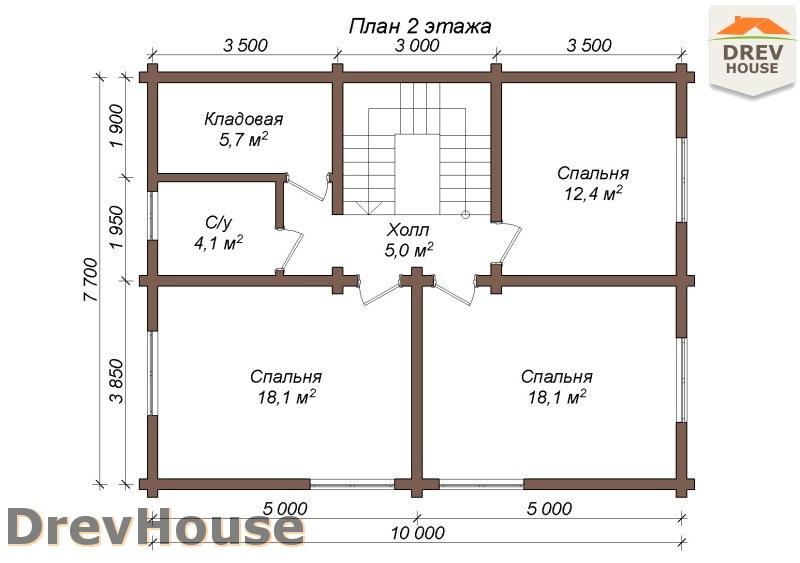 План 2 этажа полутораэтажного коттеджа из бруса Арко
