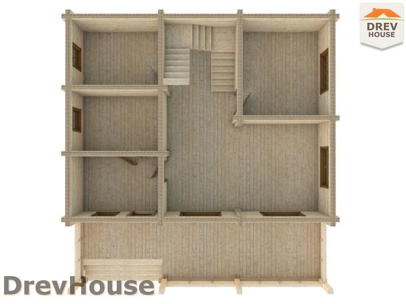 Вид изнутри 1 этажа проекта полутораэтажного коттеджа из бруса Арко