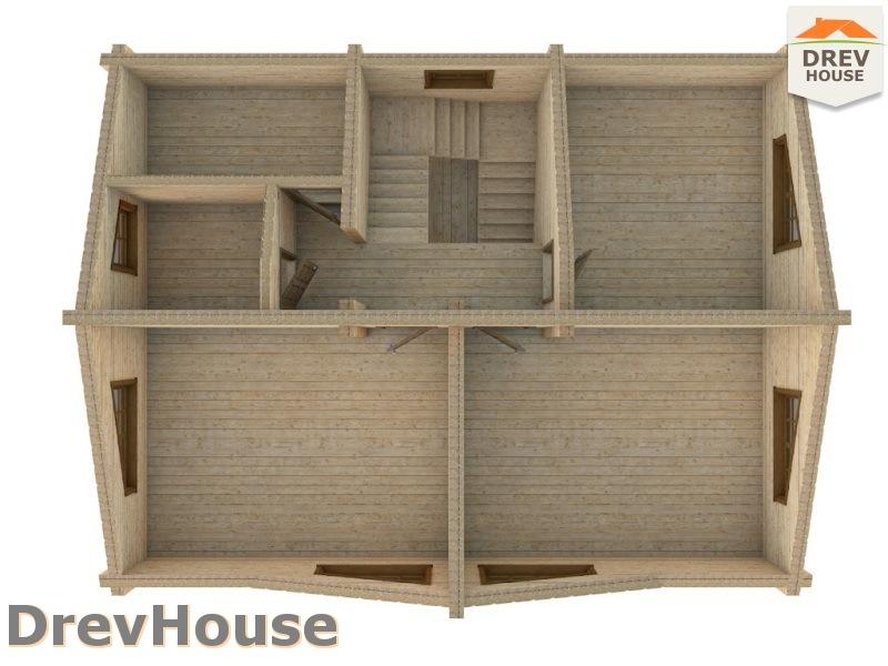 Вид изнутри 2 этажа проекта полутораэтажного коттеджа из бруса Арко