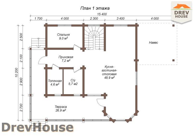 План 1 этажа полутораэтажного коттеджа из бруса Фонди
