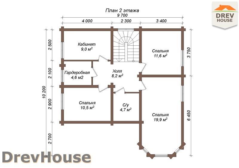 План 2 этажа полутораэтажного коттеджа из бруса Фонди