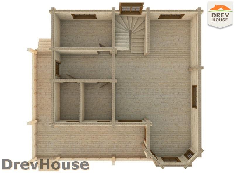 Вид изнутри 1 этажа проекта полутораэтажного коттеджа из бруса Фонди