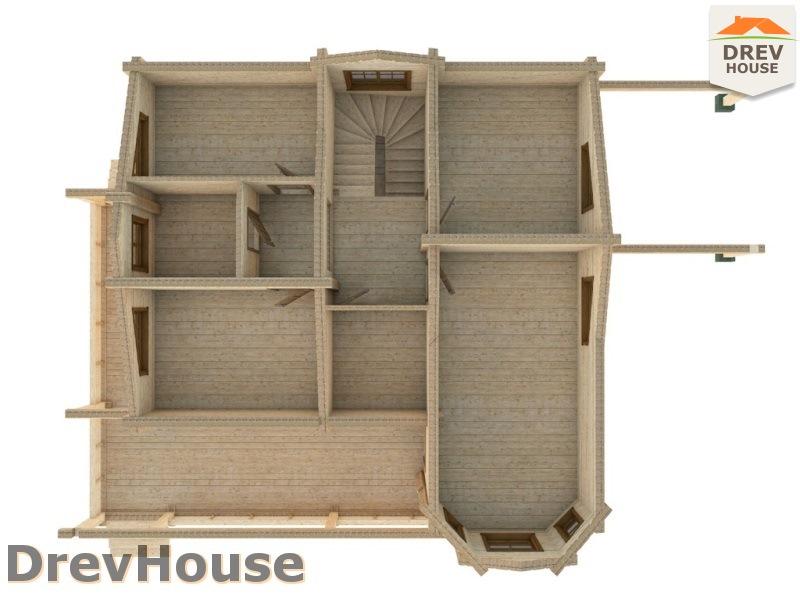 Вид изнутри 2 этажа проекта полутораэтажного коттеджа из бруса Фонди