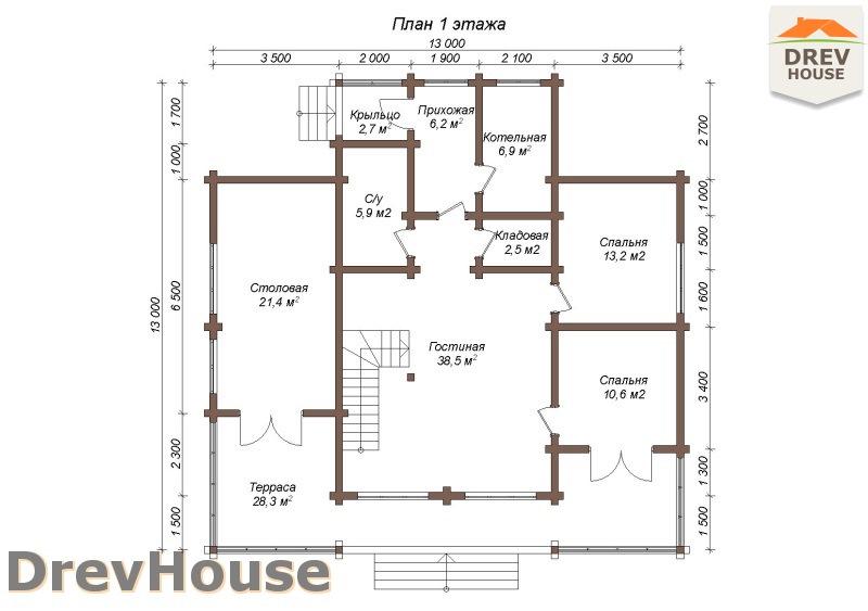 План 1 этажа полутораэтажного коттеджа из бруса Луиза