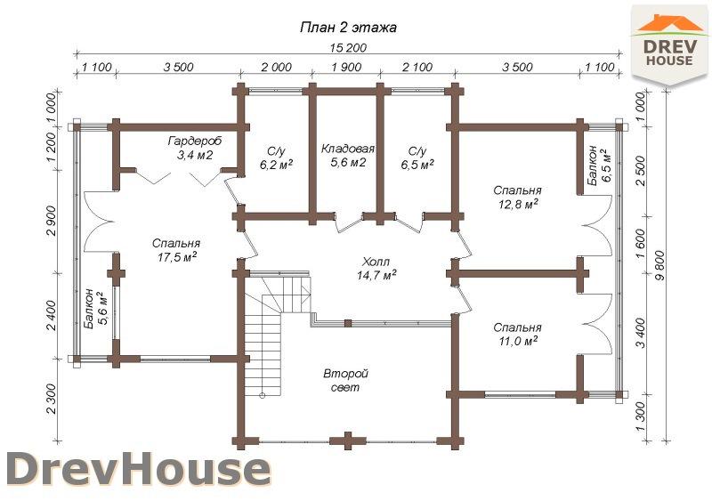 План 2 этажа полутораэтажного коттеджа из бруса Луиза