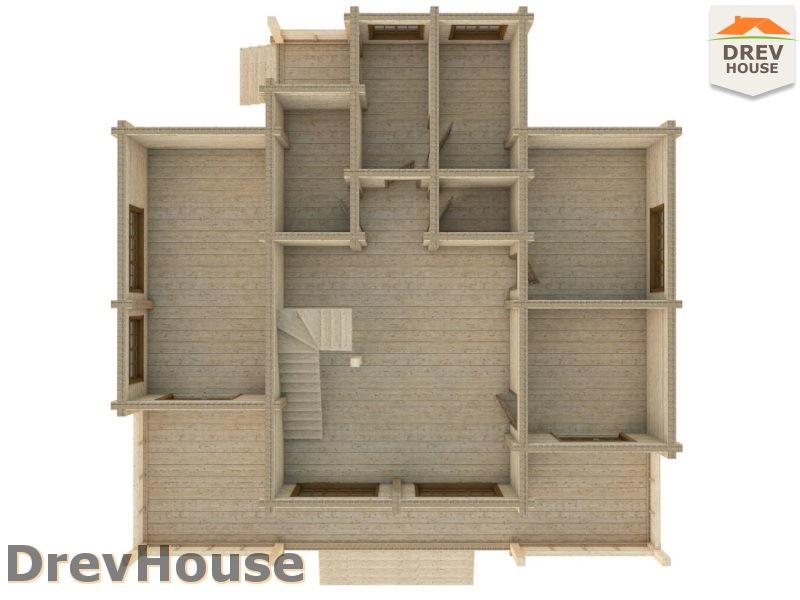 Вид изнутри 1 этажа проекта полутораэтажного коттеджа из бруса Луиза