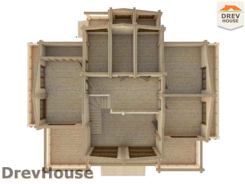 Вид изнутри 2 этажа проекта полутораэтажного коттеджа из бруса Луиза