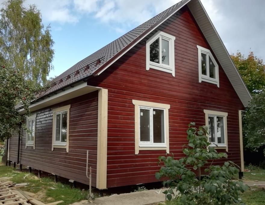 Фоторепортаж строительства дома из бруса в деревне Павловское, Истринский р-н., МО (По проекту ДБ-72)