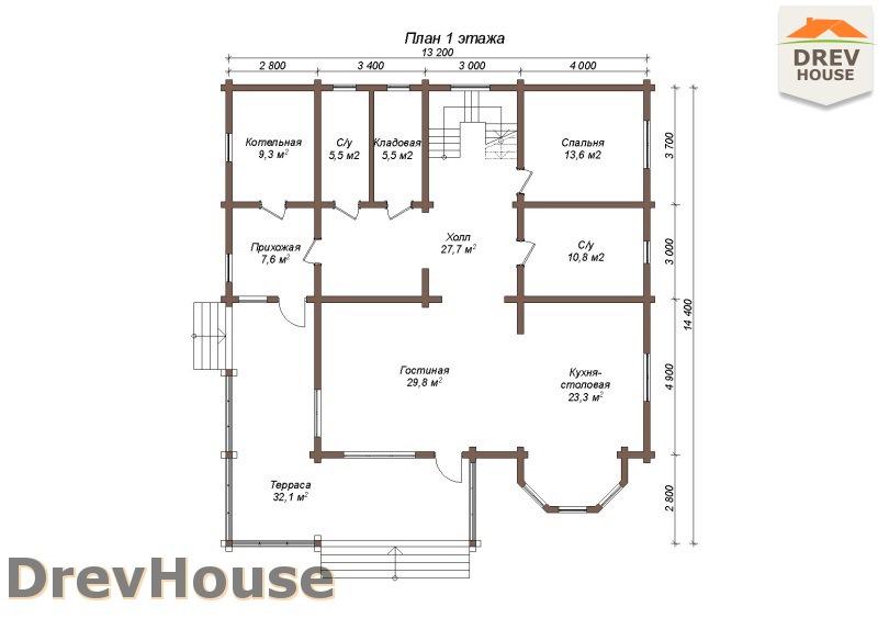 План 1 этажа полутораэтажного коттеджа из бруса Альба