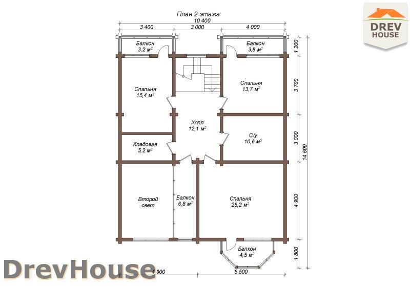 План 2 этажа полутораэтажного коттеджа из бруса Альба