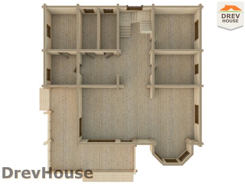 Вид изнутри 1 этажа проекта полутораэтажного коттеджа из бруса Альба