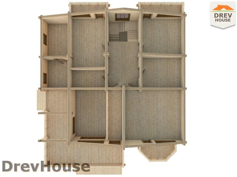 Вид изнутри 2 этажа проекта полутораэтажного коттеджа из бруса Альба