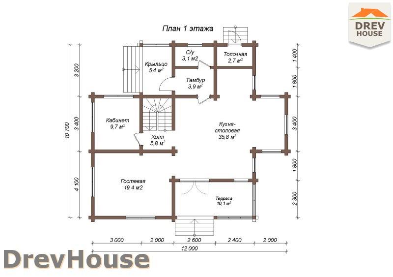 План 1 этажа полутораэтажного коттеджа из бруса Лаура