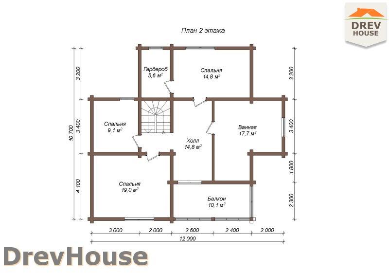 План 2 этажа полутораэтажного коттеджа из бруса Лаура