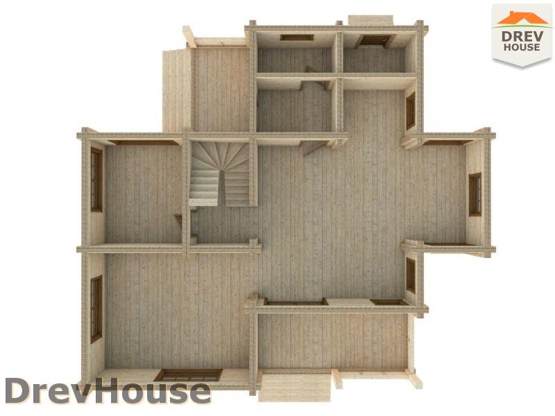 Вид изнутри 1 этажа проекта полутораэтажного коттеджа из бруса Лаура