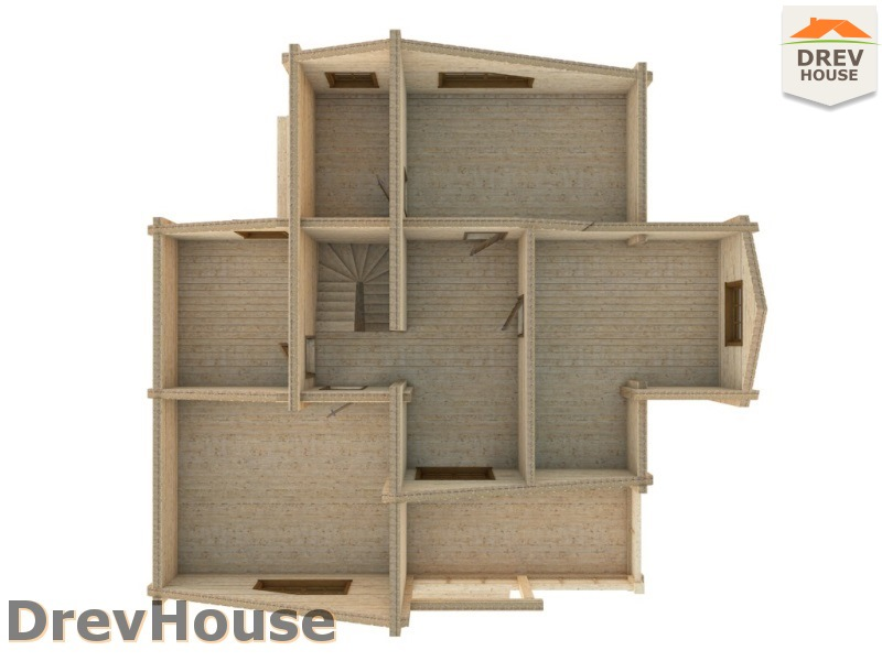 Вид изнутри 2 этажа проекта полутораэтажного коттеджа из бруса Лаура