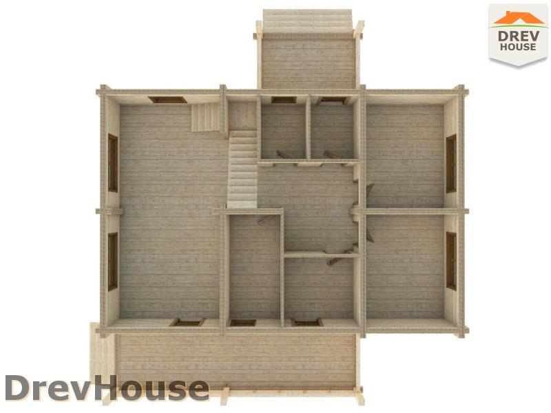 План 1 этажа полутораэтажного коттеджа из бруса Люси
