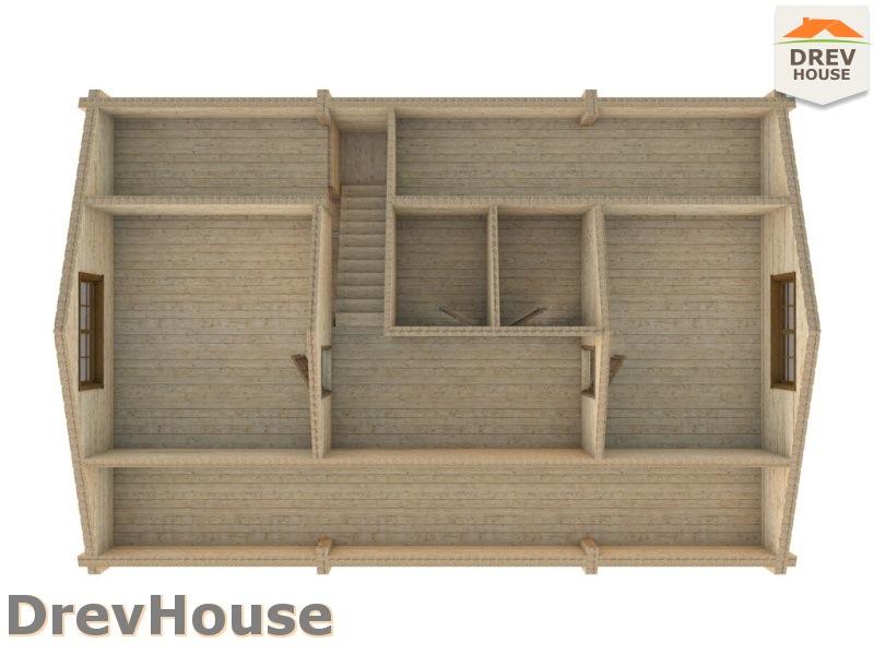 План 2 этажа полутораэтажного коттеджа из бруса Люси