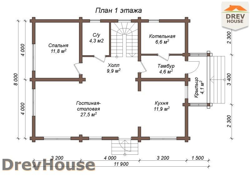План 1 этажа полутораэтажного коттеджа из бруса Милан