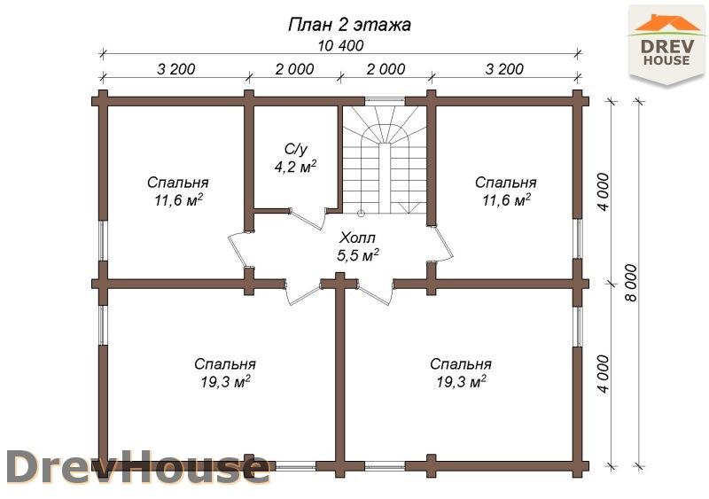 План 2 этажа полутораэтажного коттеджа из бруса Милан