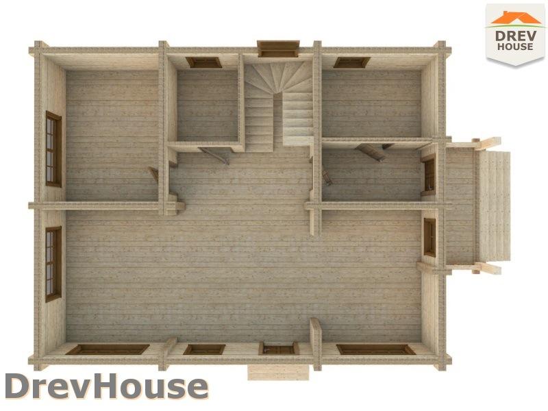 Вид изнутри 1 этажа проекта полутораэтажного коттеджа из бруса Милан