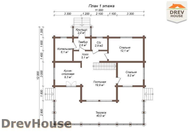 План 1 этажа полутораэтажного коттеджа из бруса Парма