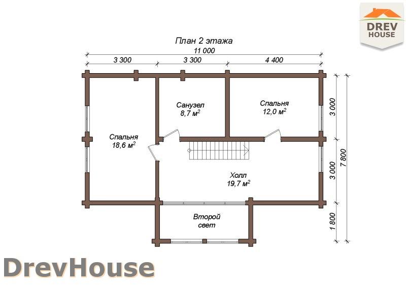 План 2 этажа полутораэтажного коттеджа из бруса Парма