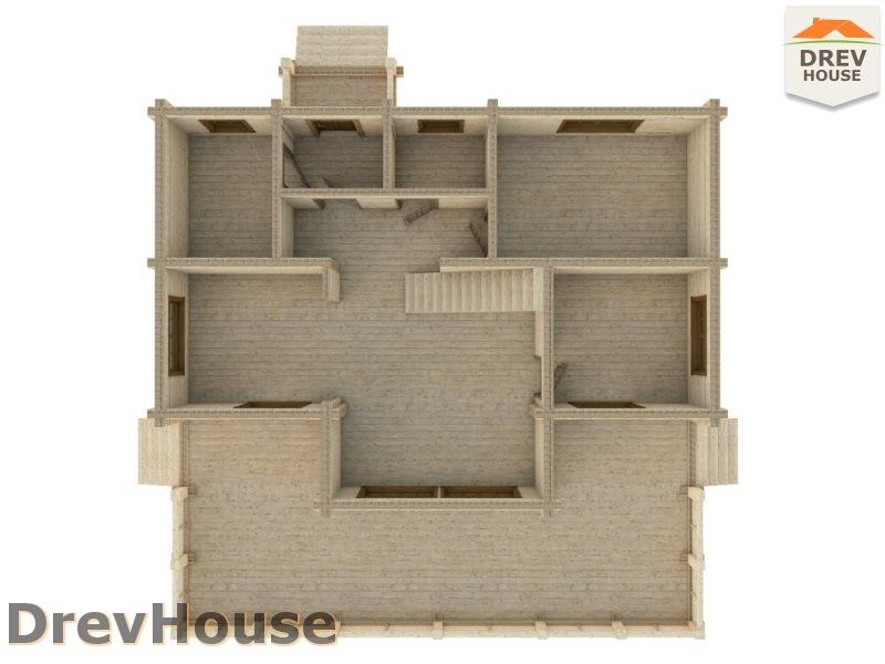 Вид изнутри 1 этажа проекта полутораэтажного коттеджа из бруса Парма