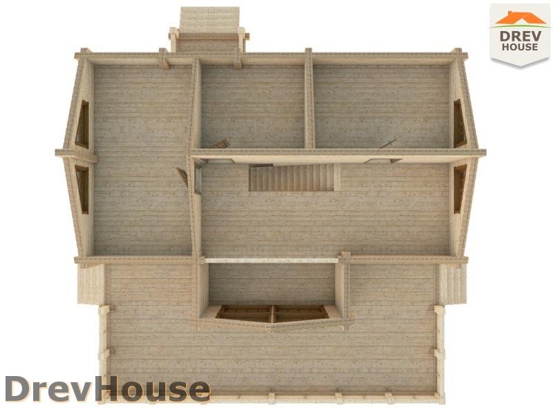 Вид изнутри 2 этажа проекта полутораэтажного коттеджа из бруса Парма