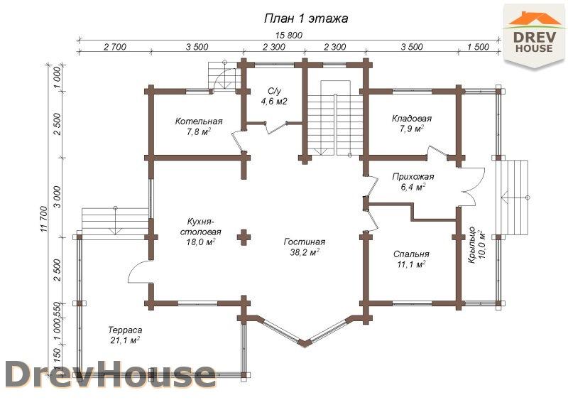План 1 этажа полутораэтажного коттеджа из бруса Стелла
