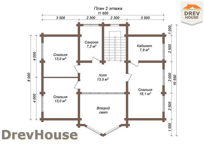 План 2 этажа полутораэтажного коттеджа из бруса Стелла