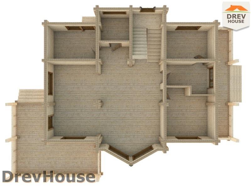 Вид изнутри 1 этажа проекта полутораэтажного коттеджа из бруса Стелла