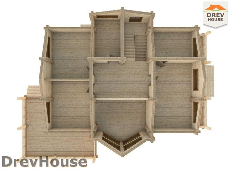 Вид изнутри 2 этажа проекта полутораэтажного коттеджа из бруса Стелла